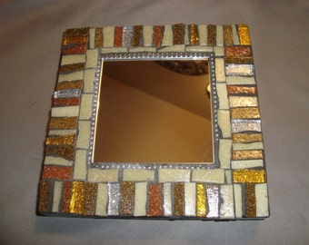MOSAIC MIRROR - Gold, Silver, Tan, Beige, Silver, Gold Accent Mirror