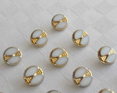 16 pretty white glass  buttons with fine golden trim  (13 mm - 1/2 in.)