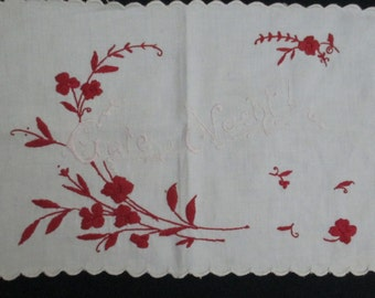 Vintage German Good Night Pillow Cover Redwork
