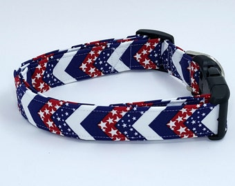 Made In The USA Patriotic July Fourth 4th Chevron Zig Zag Stripe Dog Collar