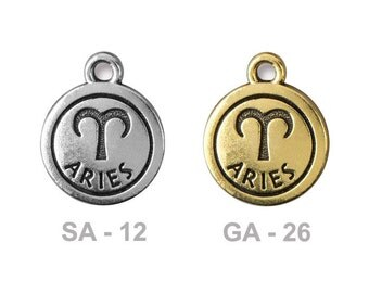 TierraCast Aries Pewter Charm - choose from antique silver or gold - astrology zodiac sign for the ram - birthdays March 20 to April 19th