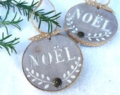 Rustic Noel Christmas Ornament Weathered Wood with Laurel Wreath Design for French Country Farmhouse, Scandinavian, Cottage or Beach House