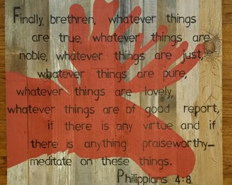 Red Moose Scripture Sign with Philippians 4:8