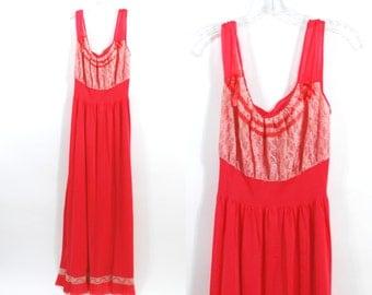 Vintage 40's Luxite Watermelon Red Lace Nightgown Dress lingerie sz 40 / L