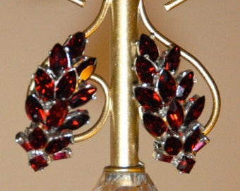 Bellini Rhoduim Plated Red Clip Earrings, Vintage Signed Red Rhinestone Bellini Clip Earrings, Haute Couture