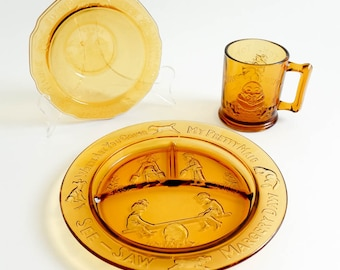 Vintage 1960s Childrens Dinnerware Set / 60s Tiara by R.S. Nursery Rhyme Amber Glass Dinnerware Set VGC / Plate Bowl Mug