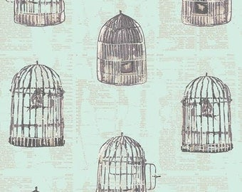Wonderland Fabric from Art Gallery Katarina Roccella Uncaged Words Bird Cages on Newpaper Print Mint Green