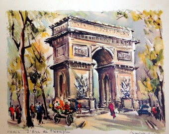 Fine Art Lithograph Marius Girard Paris L'Arc de Triomphe