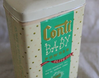 Vintage Conti Baby Powder with Olive Oil Tin