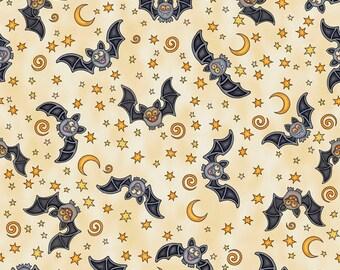 Halloween Fabric/Dan Morris/Creepy Hollow/Bats Cream/24485 E/Quilting Treasures/Quilt Fabric/Fabric by the yard/Halloween Quilt/Bats Quilt