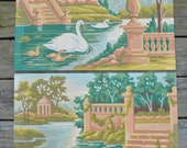 2 Vintage Paint By Numbers Pictures . Swan Scene . Beautiful . Nice