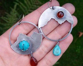 lakes and mountains turquoise carnelian amber sterling silver earrings - turquoise earrings - mountain earrings - lake earrings - landscape
