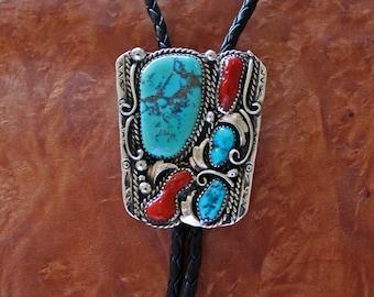 Navajo Bolo Tie Silver Turquoise Coral