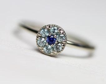 Delicate Blue Zircon Sapphire Engagement Ring 14k White Gold Cluster Setting Ice Flower Winter Frost Snow December Birthstone - Eisblume