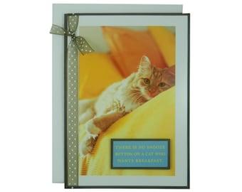 Cat Greeting Card - Handmade Blank Cat Card - Orange Cat - New Cat Welcome Card - Pet Greeting Card - Handmade with Polka Dot Ribbon