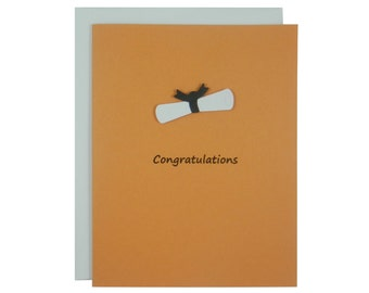 Orange Diploma Graduation Congratulations Greeting Card Graduation Card Handmade Card for Graduation Gift for Graduation Grad Card for Party