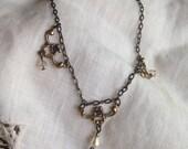 Champagne crystal pearl beads choker collar bib short necklace