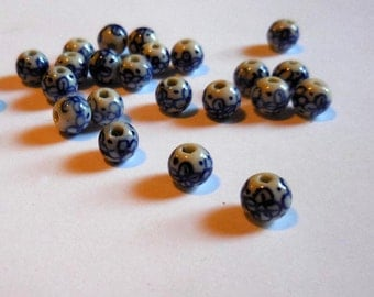 8mm Blue and White Chinese Porcelain Beads, 25 ct.