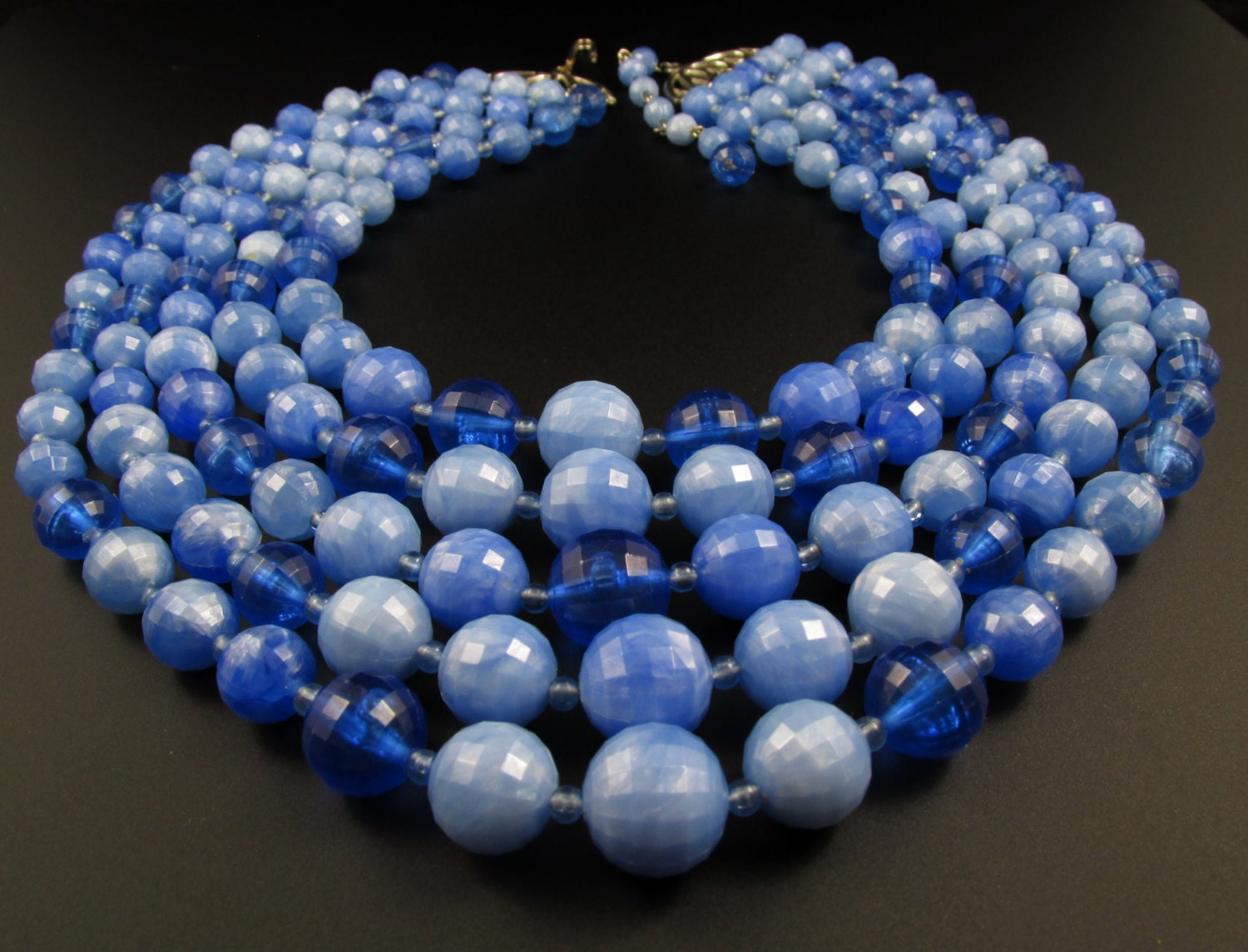 blue beaded necklace bib necklace statement by