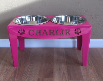 Custom Personalized Elevated Dog Feeder Stand Large Raised Bowls