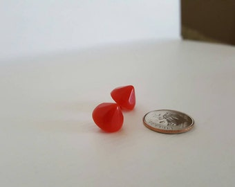 2 Vintage Red pointed stud buttons