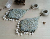 Vintage Chic Chandelier Gauged Earring Plugs Flashy Mother of Pearl Bead Fringe & Pale Blue Patina