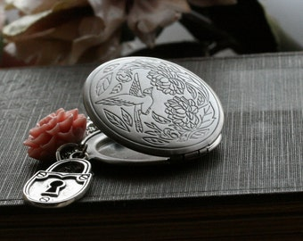 Silver Locket, Round  Locket  Necklace, Locket Jewelry, Flower Locket, Birthday Gift, 21st Birthday, Padlock, Mustard - Sadie
