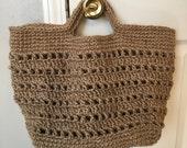 Sturdy Strong Tan Jute Crochet Market Tote Bag Purse Boho - READY TO SHIP