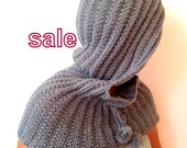 Chunky Grey Hood, Scarf, Christmas Gift, Gift For Her, Hoded Scarves, Was 65, Now 55