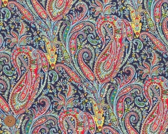 Felix and Isabelle, Colorful Paisley, Liberty Tana Lawn Fabric, Liberty of London, Liberty Japan, Quilt Fabric, Cotton Print Scrap, kt3035j