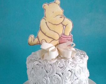 Classic Pooh bear cake topper, fabric Winnie the Pooh birthday or shower party decoration G192 baby shower topper