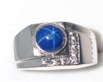 14k gold size 8 mens blue created star sapphire natural genuine diamond accent ring band abstract cabochon L   style
