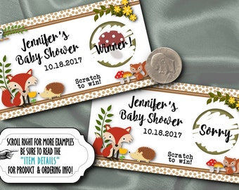 10 Party Scratch Off Cards, Activity Game Card, Baby Woodland Forest Animals, Fox, Hedgehog, Squirrell, Owl, Baby Shower, Birthday Party
