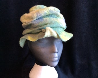 Wet felted, hand dyed merino wool unisex hat, stitched ruching both light weight and warm, mauve, sea foam and yellow green
