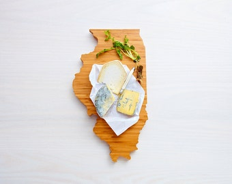 Illinois Cutting Board 4th of july Gift Personalized engraved Illinois cheese state shaped board