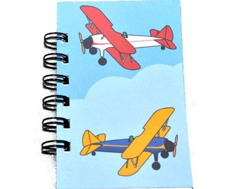 Airplane Party Favors, Recycled Mini Airplane Spiral Bound Notebook-Total of 1 Notebook, Kids Notebook.