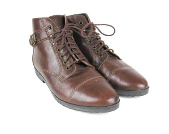 90s Brown Leather Ankle Boots Buckle Boots Lace Up Boots Chocolate Brown Grunge Hiking Boots Cap Toe Eyelet Vintage Ankle Booties Size 6.5