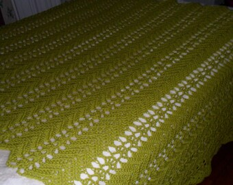 Crochet King Afghan  ''LACY RIPPLE'' Blanket - Bedspread - Coverlet - Throw  - Wedding Gift in Summer Green