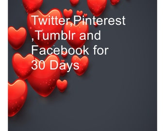 Twitter,Pinterest,Tumblr and Facebook for 30 Days-I will pin 4-100 items to My Pinterest.