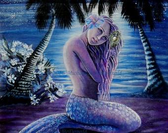 Moonlit Mermaid Fantasy Art Prints - mermaid, fantasy art, mythological, art, mermaid card, mermaid gifts, mermaid poster,