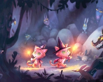 Cat Wizards | Wide Fine Art Print | 6x12 | 13x19 | Colorful Magical Child's Room Art | Flimflammery