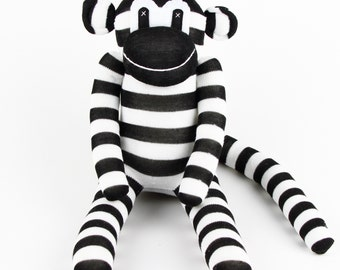 Handmade Black White Striped Sock Monkey Stuffed Animal Doll Baby Toys Birthday New year Gift