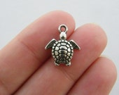 10 Turtle charms antique silver tone FF90