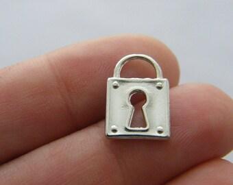 BULK 50 Lock charms  silver tone K97 - SALE 50% OFF