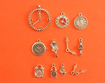 The Clock Collection - 12 antique silver tone charms