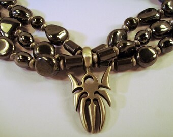 OOAK Triple strand Gunmetal nuggets and silver spider Necklace