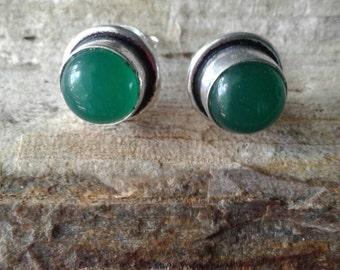 Vintage Green Onxy  Stud Earrings,Silver Earrings,Hippie,Estate Sale Find, Stud Earrings