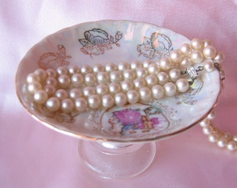 Vintage  Plate Bowl Ring Holder/ Business Card Holder/ Trinket Holder /Soap Dish/Candle Holder/ Recycled Gifts for Her