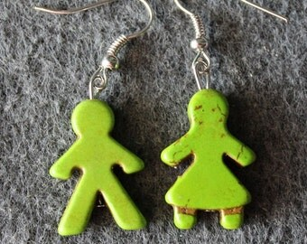 Boy and Girl Earrings, Green,Mr and Mrs,Gender Earrings
