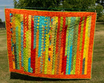 Bright Quilt, salsa time - Throw, lapquilt, picnic blanket, bright